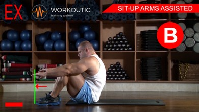 Abs exercises - Sit - Up Arms Assisted - Workoutic - 6 Pack B